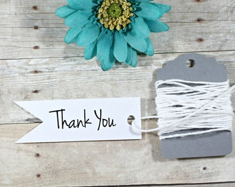 White Thank You Tags Set of 20 - Small Hang Tags - Wedding Flag Tags - White Bridal Shower Tags - Flag Shaped Tags - Party Favors