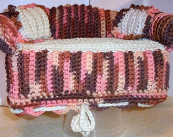 Sofa Style Tissue Box Cover Handmade Crochet In Desert Rising (Brown/Peach/Beige Variegated)  w/Beige Accent  Pillows ***FREE SHIPPING***