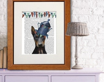 Doberman art Print - Milliners Dog Print - Doberman art Whimsical dog art gift for dog lovers Living room décor family room wall art