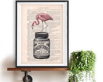 Fantasy Flamingo Honey Print, Bird Artwork,Vintage Honey, Office Art, Wall Art Prints, Wall Decor, Wall Art, Pink Flamingo,Bird Illustration