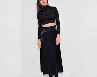 Vintage 90's Glossy Black Maxi Skirt / High Waisted Black Maxi Skirt