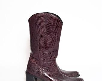 Vintage Eggplant Purple Real Leather Western Chunky Heel Snakeskin Shoes