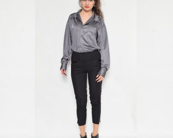 Vintage 90's Silver Button Shirt / Long Sleeve Glossy Grey Blouse / Silver Long Sleeve Blouse
