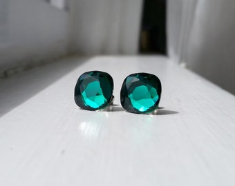 Emerald Green Rare Vintage Swarovski crystal 12mm surgical steel stud earrings jewelry wedding bridal - May birthstone
