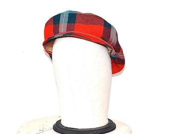 60s Plaid Newsboy Cap - Vintage Mod Red Tartan Poorboy Hat - 1960s Plaid Wool Cabbie Hat