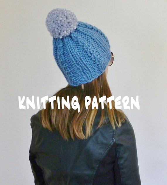 Pom Pom Beanie Knitting Pattern : KNITTING PATTERN Beanie Pom Pom Beanie Pattern by BoPeepsBonnets