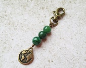 World Keychain Charm, Brass Earth Day Purse Charm, Green Stone Keychain Charm, Beaded Zipper Pull