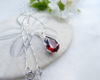 January Birthstone Necklace, Mother's Day Necklace, Garnet Necklace, .925 Sterling Silver Necklace, Cubic Zirconia Necklace, CZ Birthstone