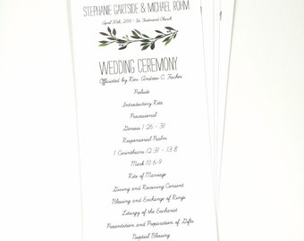 Printed Wedding Program, Greenery Watercolor Wedding Programs