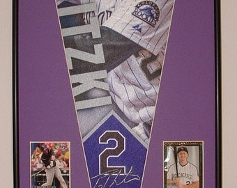 Colorado Rockies Troy Tulowitski Pennant Framed with cards..Custom Framed!!