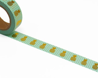 Pineapple Washi Tape - Mint Green with Gold - Foil Masking Tape