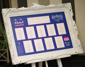 Bold Navy & Pink Wedding Table Plan