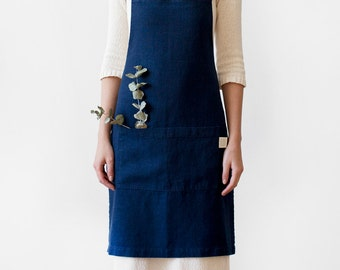 Navy Stone Washed Linen Apron