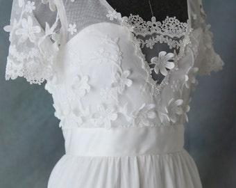 Romantic Soft  Lace Wedding Dress - Elizabeth 2017. Perfect for Beach Woodland /Boho Wedding. Design by L'Amei
