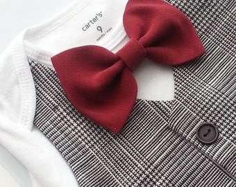 Baby Boy Bodysuit With A Vest Attached And Burgundy Bowtie.