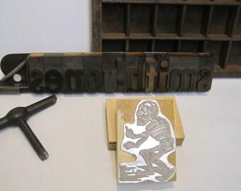 "Letterpress Printing Block ""Pointing Skeleton, Gran Calaveras"" Day of Dead, Letterpress blocks, Printer's Block, Letterpress, Printing Press"