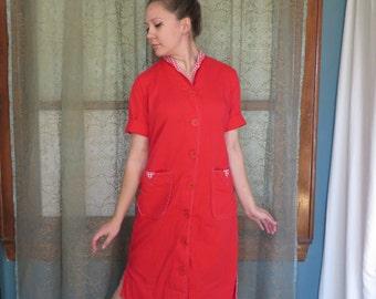 ON SALE 1950s Red Wiggle Dress 50s Cotton Dress Vintage Midi Dress Gingham Checkered 50s Shirt Dress Shirtwaist 50s Day Dress Marcy Lee