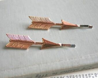Arrow Rose Gold hairpins, bobby pins, hair clips, Boho, Modern, Rustic, Woodland, Nature