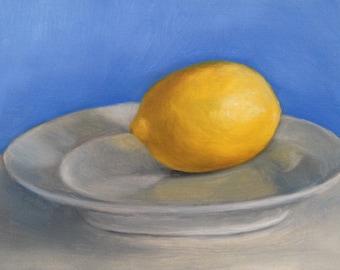 "Still life painting: Lemon on plate 6x4"", original oil painting"