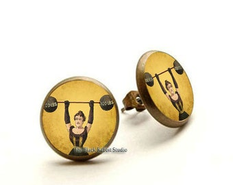 Strong woman earrings, Circus Performer jewelry, Woman Weightlifter, Super Woman earrings, strong lady jewelry