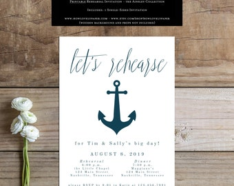 Printable Rehearsal Invitation - the Ainsley Collection -  Rehearsal Invitation - Printable Rehearsal Dinner Invitation - Nautical Rehearsal