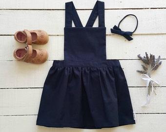 Girls Navy Pinafore (1 - 5 years) - Made to order - Handmade - Girls Dress - Pinafore - Navy Pinafore - Navy Dress - Toddler Dress