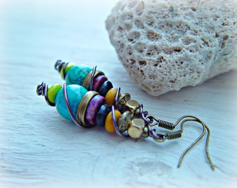 Boho Pink Earrings - Boho Turquoise Earrings - Boho Orange Earrings -  Boho Jewelry - Boho Hippie Earrings - Gypsy Earrings
