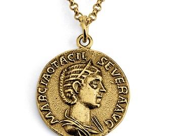Otacilia Severa Empress of Rome Replica Ancient Coin Money Charm Pendant Necklace #14K Gold Plated over 925 Sterling Silver #Azaggi N0442G