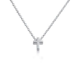Cross Bead Christian Religious Symbol of the Crusifixion of Jesus Charm Pendant Necklace #925 Sterling Silver #Azaggi N0597S_Cross