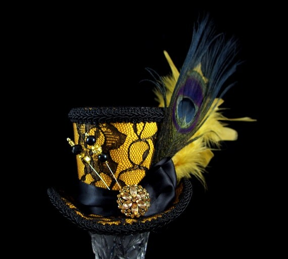 Gold and Black Lace Peacock Medium Mini Top Hat Fascinator, Alice in Wonderland, Mad Hatter Tea Party, Derby Hat