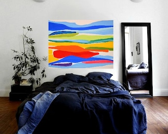 "LARGE 36""x48"" Original Acrylic on Canvas Abstract Painting Multi Colors Rainbow Minimalist Modern Original Contemporary Artwork"