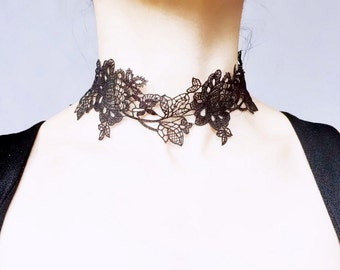 exquisite floral black/brown/red lace choker necklace - hand dyed gothic lace choker - lace accessory