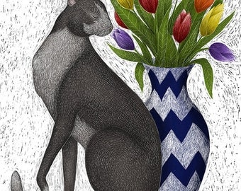 Signed Fine Art Print - Cat with Tulips