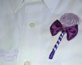 Purple Lollipop Candy Boutonniere, Purple Wedding, Purple Boutonniere, Candy Boutonniere, Lollipop Boutonniere, Buttonhole, Lollipop Wedding