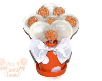 Orange and White Lollipop Arrangement, Orange Candy Centerpiece, Fall Wedding Candy Buffet, Birthday, Halloween Party Centerpiece, Orange