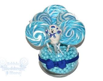 Polar Bear Small Round Lollipop Centerpiece, Candy, Lollipop, Centerpiece, Gift, hostess gift, Christmas, Holiday, Hanukkah