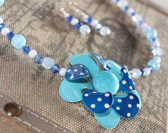 BIG BLUE WAVE Upcycled Vintage Enamel Flower Brooch Blue Polka Dot Swirl Necklace Earring Set