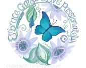 Butterfly Original Painting, Butterfly Art, Passion Flower, Blue Morpho, Inspirational Art, Motivational Art, Gift Idea, Turquoise Eye
