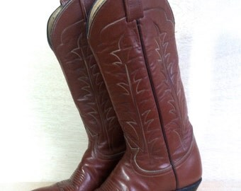 1970s Tony Lama Brown Leather Boots Tall Cognac Western Cowboy Cowgirl Womens Size 6