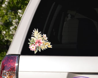 Vintage Tropical Flowers and Palm Fronds Car Window Full Color Vinyl Decal