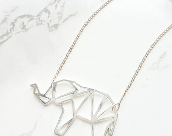 Origami elephant necklace, Geometric elephant, elephant pendant, silver elephant necklace, silver elephant, animal pendant