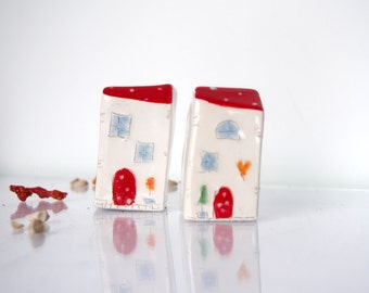 Miniature Ceramic Houses, Unique Handmade little house Miniature Clay House, Red Roof, Glossy glaze Ceramic House One of a kind