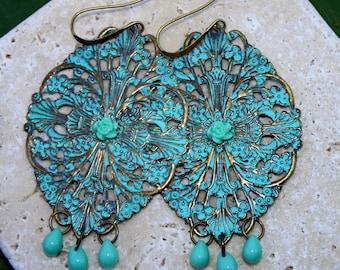 Bohemian Chandelier Earrings Turquoise Filigree Beaded Dangles Rustic Brass Filigree Large Hippie Gypsy Earrings Unique Boho Earrings