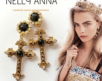 Byzantine gold cross clip-on earrings, designer inspired crosses embellished with rhinestones and gems