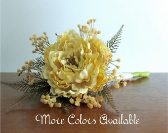 "Single Stem Silk Peony Bouquet, Orange, Brown, Coral Pink, Burgundy Red, Turquoise Blue, Golden Cream, Purple, or Sage Green, ""Felicity"""