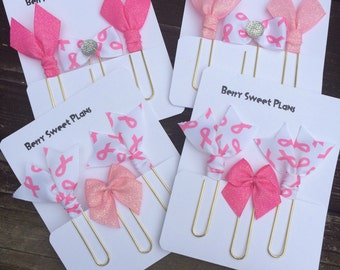 Breast Cancer Awareness - Set of 3 Planner Clips / Bookmarks
