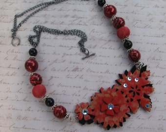 Genuine Red Leather Statement Necklace with Rhinestones and Beads and Gunmetal Chain, Bib Leather Necklace with Beaded Gunmetal Chain