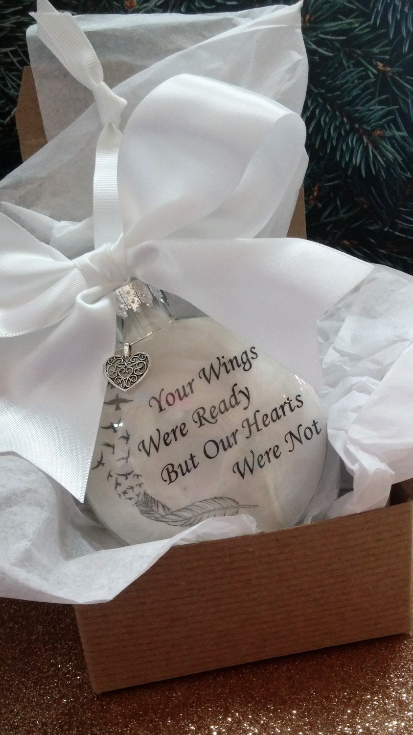 Dad christmas ornament - In Memory Christmas Ornament Your Wings Were Ready But Our Hearts Were Not Personalized