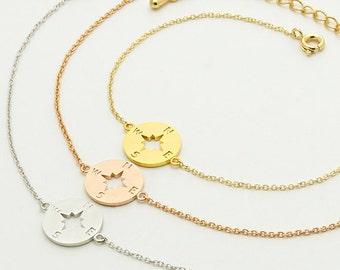 Compass Bracelet / nautical jewelry, journey jewelry, graduation bracelet, graduate gift, inspirational bracelet / B023