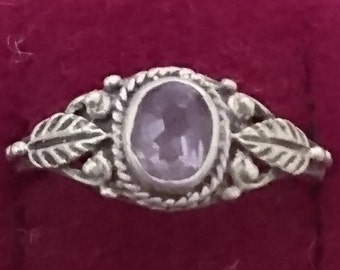 Vintage sterling silver and amethyst ring